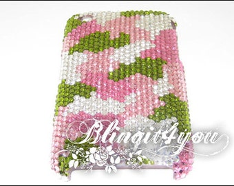 Rhinestone Bling Diamond Pink & Green Camouflage Back Case Cover for iPhone 5 6 6S 7 Plus Handmade w/ SS 12 100% Swarovski Crystal Elements