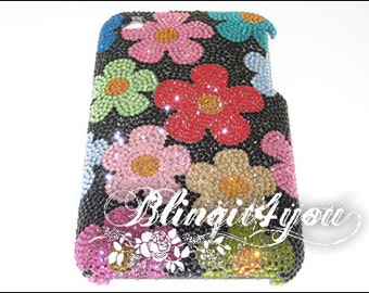 Custom Make Bling Diamond Multi Color Flower Back Case for iPhone 5 SE 6 6S 7 7 Plus Handmade with SS 5 Tiny 100% Swarovski Crystal Elements