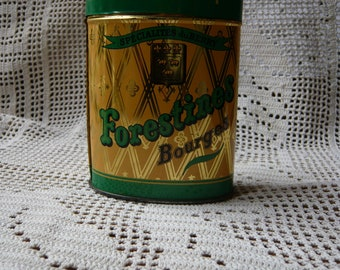 Advertising tin box Forestines candies Bourges Tavernier french speciality ornated tin box yellow green oval shape old french sweetmeat box.