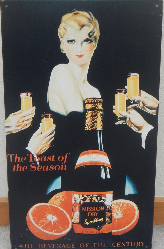 Vintage 1950's Drink Reproduction Tin Sign