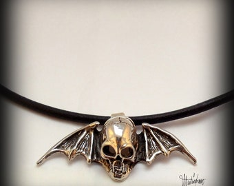 Sterling Silver Winged Vampire Skull Pendant on a Black cord necklace