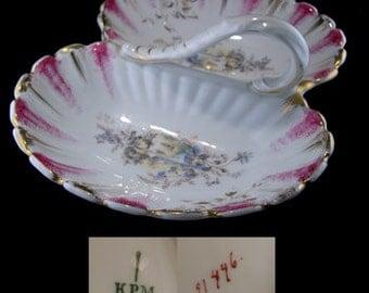 Vintage KPM Porcelain Divided Handled Serving Dish