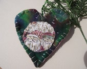 Heart Ornament with santa fabric
