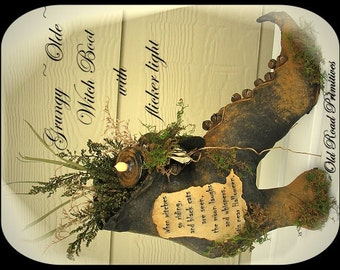 Primitive Witch Boot Pattern Grungy Olde Witch Boot Halloween ePattern