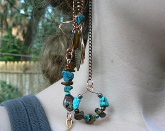 ear cuff wrap  turquoise tigers eye jasper mixed metals chains Native American inspired gypsy boho southwestern