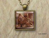 Sleeping Tabby Cat, Illustration, Square Art Pendant, Charm, Silver or Antique Gold, Pastel, Jewelry (ADA-SPJ087)