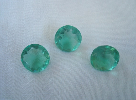 Green Fluorite Rounds - 46.70 TCW Between 15-16mm - Loose Gemstone Lot- 3 Stones