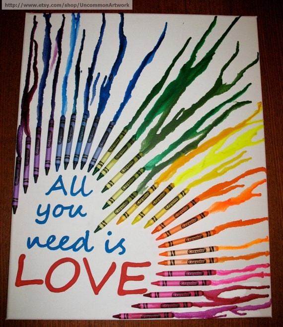 """Melted Crayon Art - """"All you need is love."""""""