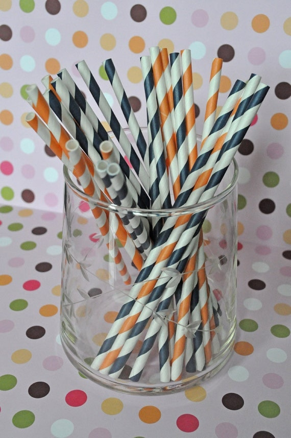 Paper Straws - Navy and Orange Striped Party Straws and Coordinating DIY Straw Flag PDF