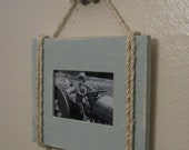 Shabby Chic Nautical Beach cottage 4X6 Rope Boat cleat Picture Frame in Distressed Watery Blue