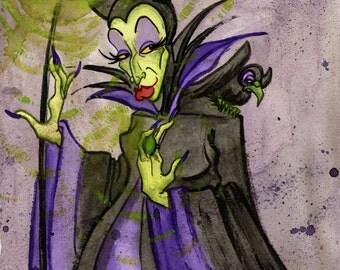 Maleficent, Disney Sleeping Beauty, Original Watercolor Painting