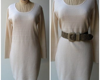 Vintage Sweater Dress, Cream colored wool with striped detail, size Medium