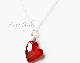 Valentines day Heart Pendant with Chain, Silver chain, Devoted to you red heart pendant, Metal Jewelry Luxe Style