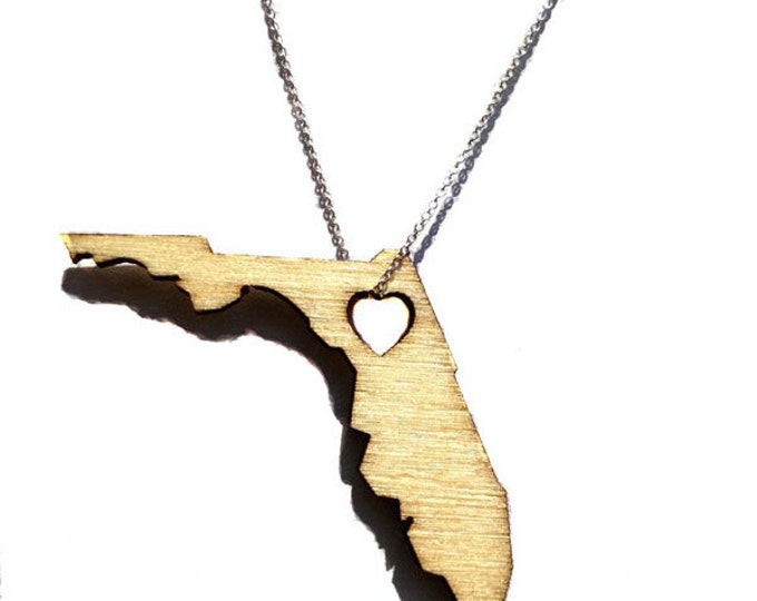 Florida States of Love laser cut Necklace FL state jewelry