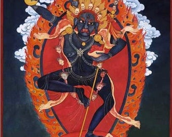 A: Goddess Troma Nagmo Kali, Hindu Deity, Tibetan Buddhist Deity art, Thangka, Kali cult, mantra, incense, ritual art, sutra, Queen of space