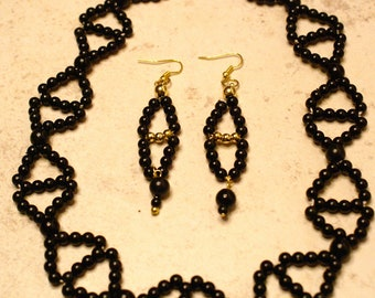 Set Southwestern Style Black Bead Necklace and Earrings, Black Bead Necklace and Dangle Earrings