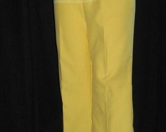 Vintage Maternity Pants Slacks Sunny Yellow 70s Pregnancy Elastic Panel S M