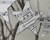 Vintage Music Sheet Star Ornaments