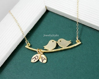 Gold Love Birds Necklace, Personalized Jewelry, Initial LoveBirds, New Mommy Necklace, Annivesary Gift, His and Hers, Couple Jewelry,