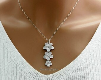 Plumeria Necklace, Sterling Silver Chain
