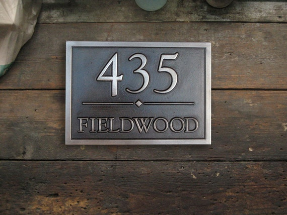 Address Plaque Coated in White-Bronze with Black Patina