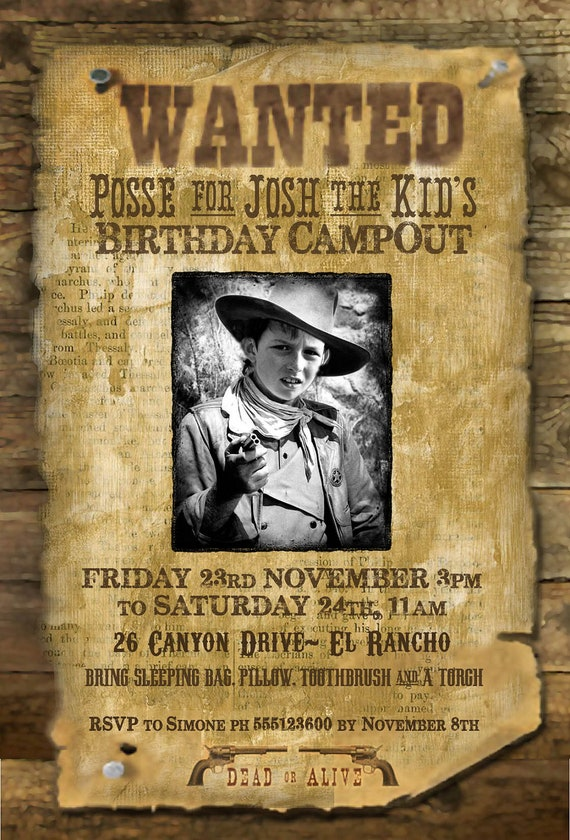 Wild West Wanted Poster Printable Party Invitation – Wild West Party Invites