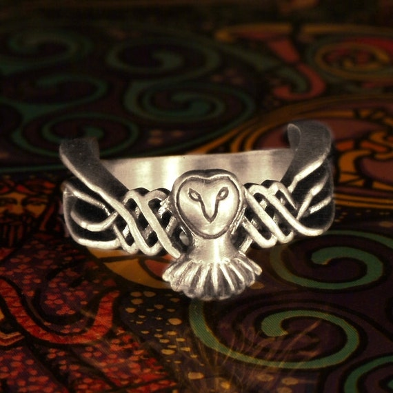 14K Gold Owl Ring, Celtic Ring, 14K Gold Wedding Band, Gold Ring, Unique Gifts for Women, Celtic Owl Jewelry, Custom Made Rings, CR-1011