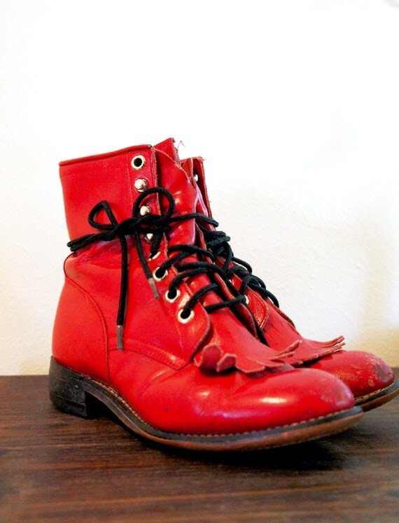 Vintage Justin Military Boots in Tomato Sauce Red KIDS 1 1/2