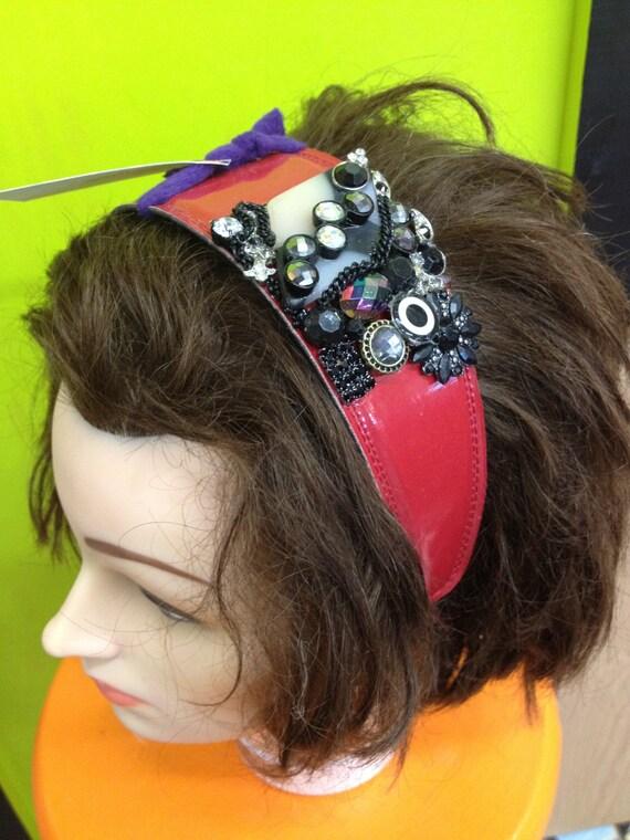 Glamorous Patent Red Headband Embellished with Dazzling Rhinestones & Jewels