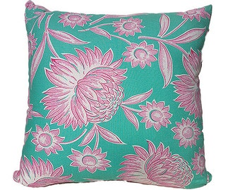 Aqua and pink floral cushion cover/pillow with pink check back