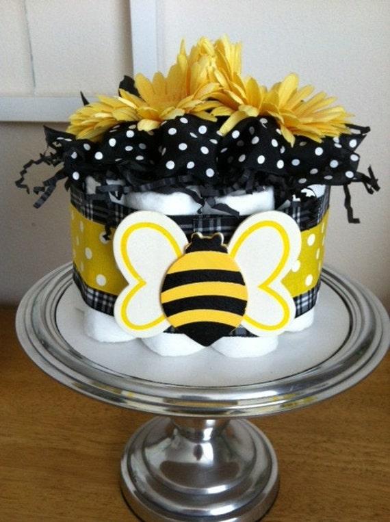 Yellow Black White Polka Dot Bumblebee Mini Diaper Cake