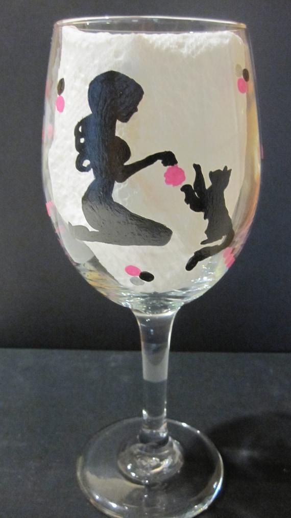 Handpainted Cat Wine Glass