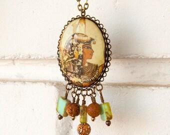 "Egyptian Queen Revival Cameo Pendant Necklace Agate Glass Beads ""Oasis Splendor"""