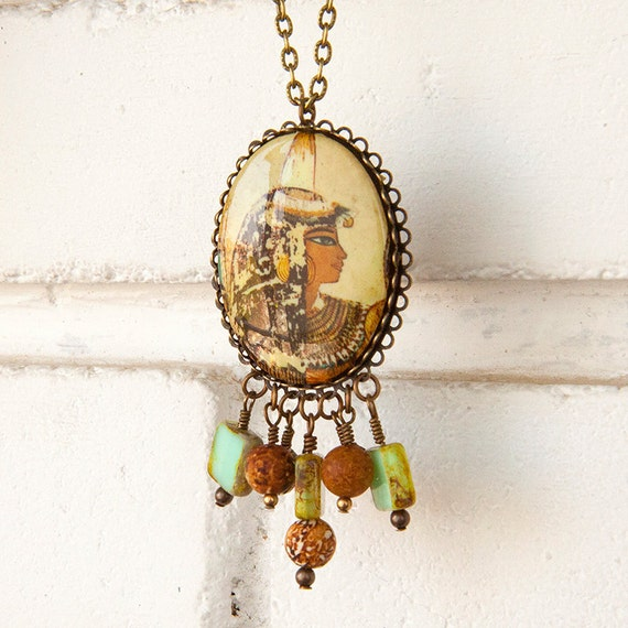 "Egyptian Queen Revival Cameo Pendant Necklace Agate Glass Beads ""Oasis Splendor"""
