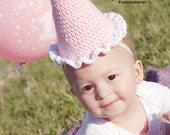 Crochet Party Hat for Girls, Girl Crochet Birthday Hat