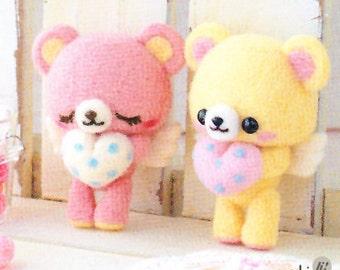 Angel Bears Needle Felting Kit - Pink, Yellow, Heart