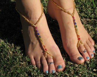 Gold and Rainbow Barefoot Sandals, Slave Anklet, foot jewelry, ankle bracelet with toe ring