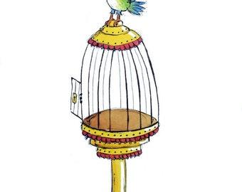 SALE Escape from the Birdcage Original Children's Illustration in Ink