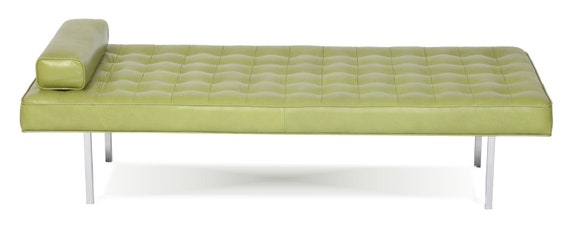 Retro modern tufted genuine leather daybed by alexalindesigns for Leather daybed bench
