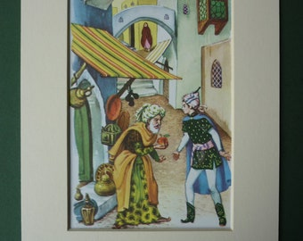 Vintage children's illustration from 1001 Nights, Arabian Nights picture