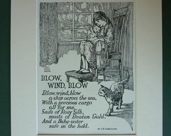 Original 1930s Children's Matted Print - Sisters - Sisterhood - Cat - Girl - Blowing Wind - Window - Vintage Picture