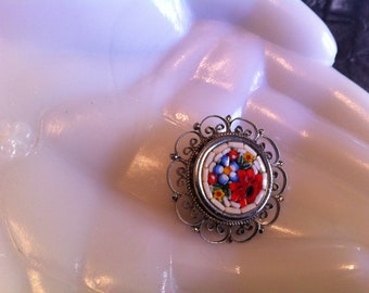 Vintage Floral Micro Mosaic Brooch With Silver Tone Filigree