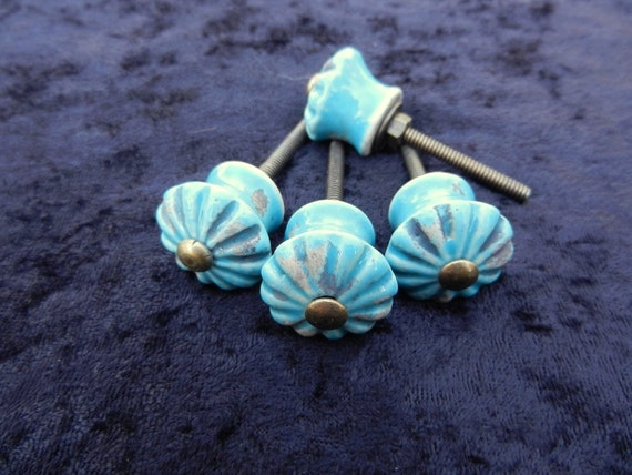 Turquoise ceramic knobs antique drawer pulls cabinet for Turquoise door knobs