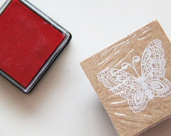 Lace Butterfly Wooden Rubber Stamp.- Scrapbooking. Cardmaking. Tag Making. Stamping. DIY rubber stamps. French theme. Nature Stamp