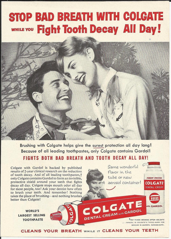 Colgate Toothpaste Original 1960 Vintage Print Ad Black