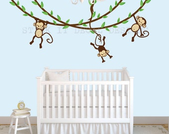 Hanging Monkey Wall Decal, Boy Monkey Decor, Monkey Decal, Nursery Wall  Decals,