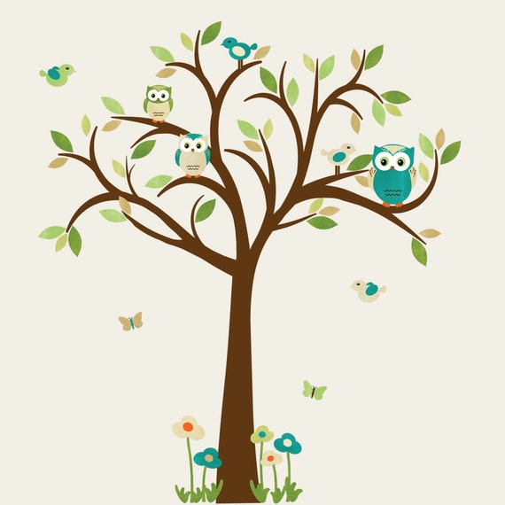 Owl tree wall decal owl tree wall sticker owl wall decal for Bird and owl tree wall mural set