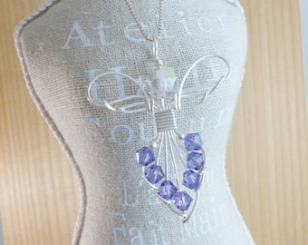 Swarovski Crystal Angel Pendant Sterling Silver Wire Wrap