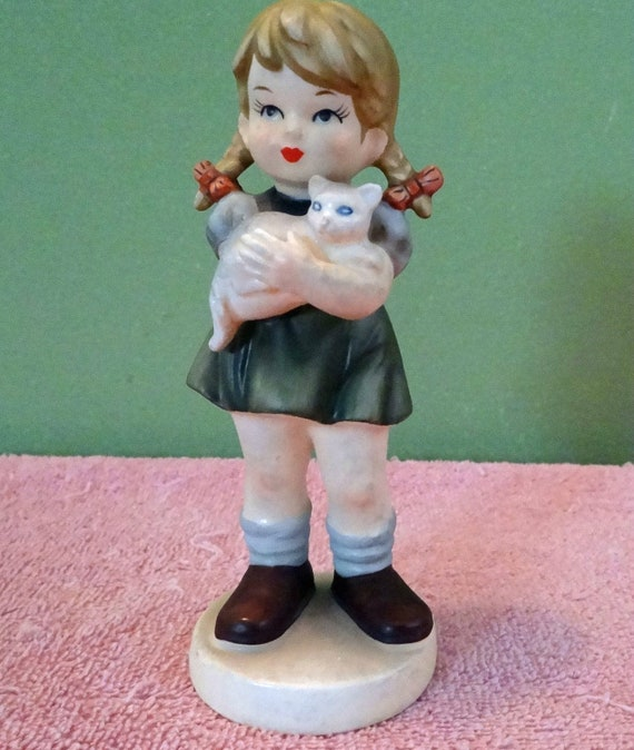 "Vintage Avon, Girl with Cat, figurine, doll,  6"" tall, 1973"