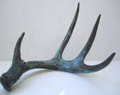 Deer Antler - Painted Bronze with Natural Blue Patina - CustomAntlers